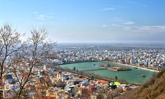 Lahijan Pool and City Skyline, Lahijan, Gilan, Iran (Persia)        (eshare) Tags: blue trees houses winter sky mountains green water clouds islands pond apartments iran horizon lakes persia basin hills pools  hdr highdynamicrange gilan       lahijan  apartmentblocks        gilanprovince hdrfromasingleraw sal50f14     dphdr satanmountain guillan  5014 sonyalpha50mmf14lens   sonyalphadslra900   900 lahijanpool lahijanlake lahijancity provinceofgilan cityoflahijan pooloflahijan lakeoflahijan estakhrelahijan sheitankooh sheitankuh satanhill