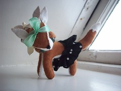 the fabulous miss's fox (tareami) Tags: cute toy stuffed twins soft sweet handmade siamese felt skirt plush bow fox kawaii plushie ribbon twoheaded darling headband conjoined stuffie feltie