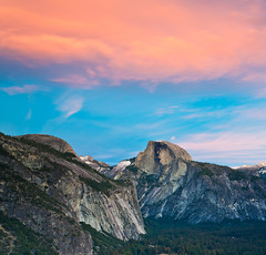 On the way back from Upper Yosemite Falls - Sunset at Columbia rock (view of Half Dome)