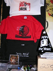 Merch table at New Years Jesse Malin show 12.31.06 @ Don Hills (511 Greenwich St., NYC).  Photo by Billie Jo Sheehan. (Just Another Folk Singer) Tags: show nyc newyorkcity table december january 2006 newyears merchandise cds tshirts merch 2007 jessemalin donhills billiejosheehan