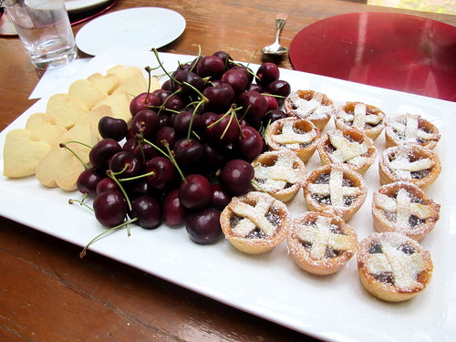 Shortbread, cherries, mince tarts