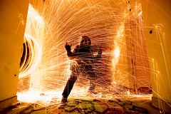 On Fire (Chin Chinau) Tags: lana wool children de fire la steel asturias fuego darklight acero barros felguera lightpaint