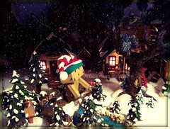 White Christmas (Sock Hop Adoption Shop) Tags: christmas winter holiday snow asian toy actionfigure japanese whitechristmas yotsuba posable danbo revoltech danboard revoltechdanbo