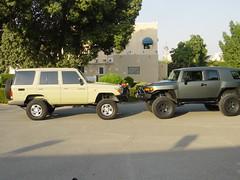 lifted toyota head 2 head (shine_on) Tags: truck desert 4x4 dunes toyota jeddah suv landcruiser saudiarabia  lifted fjcruiser          fzj76