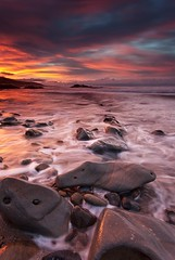 One Year Later (D Breezy - davidthompsonphotography.com) Tags: ocean california longexposure original seascape nature colors clouds sunrise canon rocks unitedstates newportbeach pch pac