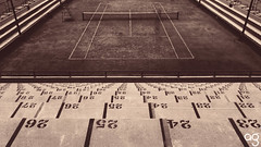 Tennis (Stromboly) Tags: red geometric sports lines sepia contrast vintage retro number tennis estadio tenis deporte 169 nmeros asientos lx5