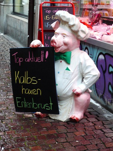 Outside a butchers in Solothurn