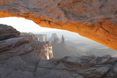 Under Mesa Arch (divetex) Tags: morning horizontal sunrise dawn utah sandstone arch desert arches erosion slickrock mesaarch multipleobjects canyonlandsnp washerwomanarch