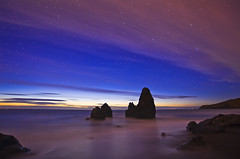 Rodeo Starlight Twilight (David Shield Photography) Tags: ocean sanfrancisco california longexposure sunset color clouds stars coast twilight tide explore sausalito marinheadlands seastacks rodeobeach goldengatenationalpark explored marinmagazine nikond700