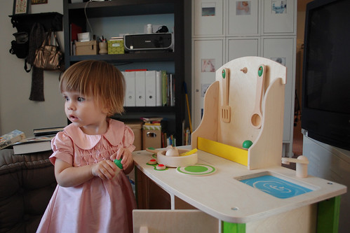 Her new play kitchen.