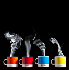 Colourful Contents (c_1_bass) Tags: mugs smoke steam espresso pantone hotcoffee offcameraflash strobist