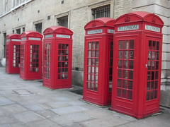 Red antique English telephone boxes