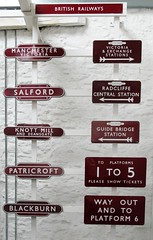 Old railway station signs (davekpcv) Tags: old uk england signs english station sign geotagged manchester tickets bury central railway victoria blackburn railwaystation gb british lettering salford radcliffe exchange wayout britishrail platforms centralstation preservation signalbox deansgate victoriastation britishrailways northernrail railwaysigns exchangestation guidebridge patricroft railwaysign knottmill guidebridgestation railwaystationsigns signalboxsign radcliffecentral yahoo:yourpictures=numbers