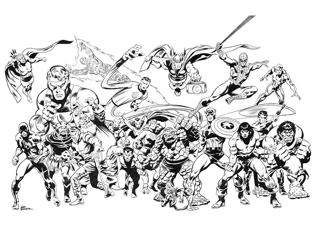 Art of john buscema 1978 cover pen ink heres the black and white