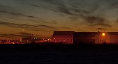 Cochran Boiler Works, Newbie (GregDouglas) Tags: winter light moon clouds evening scotland scottish newbie annan cochran gloaming annandale dumfriesandgalloway e510 zd1454 cochrans boilerworks