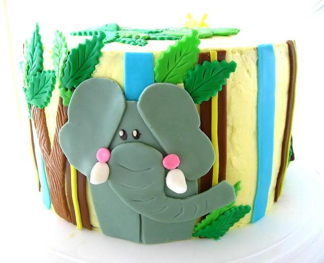 Jungle Themed Birthday Cake With Italian Meringue Buttercream
