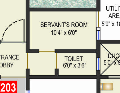 "10'4""x6' Servant Room & 6'x3'6"" Toilet in Crosswinds Baner Pune"