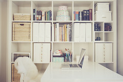 3 (c a r o l i n e*) Tags: ikea dolls desk room workroom bookcase shelves homeoffice expedit macbook faceups