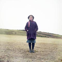 elspeth portrait (Reuben Boudewijn) Tags: winter portrait colour green 120 6x6 tlr film purple kodak medium format portra isle yashica wight 400nc