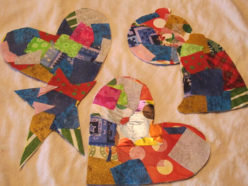 Fabric & paper collaged shapes