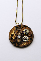 Steampunk Grasshopper Pendant (shaire productions) Tags: art clock collage bronze bug insect gold miniature necklace beads hardware artwork assemblage metallic decorative parts painted small arts victorian inspired style jewelry ring chain artnouveau copper medallion grasshopper piece custom creature decor clocks washer pendant edwardian stylish detailed steampunk accessory neovictorian backing sherriethai shaireproductions shaireproductionscom clockware