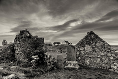 Ancient History (Mirrored-Images) Tags: architecture buildings chapel church clouds howmore landscape mono monochrome outerhebrides ruins scotland sepia silverefexpro sky southuist