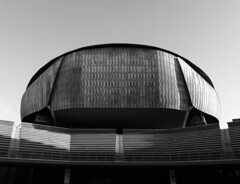 Silence (ludovicapalumbo) Tags: auditorium music rome italy blackandwhite loneliness light contrast symmetry sky isolation silence architecture art shadow street geometric city individual modern old