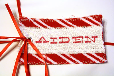 Stitched and stamped gift tags