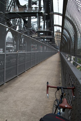 West side (the bike side) of the Harbour Bridge. Suicide proof, security guards included.