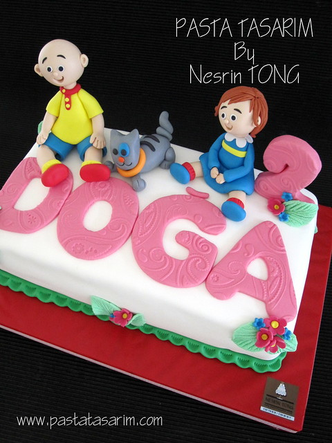 CAILLOU AND ROZI AND GILBERT ... DOGA'S 2ND BIRTHDAY CAKE