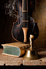 Still Life with Capstan Candlestick and Baroque Violin (kevsyd) Tags: stilllife baroqueviolin kevinbest capstancandlestick