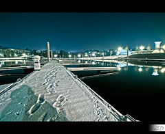 Landing Stage under Snow (HD Photographie) Tags: snow france pool night landscape high dynamic pentax explorer ardennes explore sp ii di if neige af paysage tamron range nuit hdr ld piscine k7 charlevillemzires f3545 1024mm asperical tamronspaf1024mmf3545diiildaspericalif