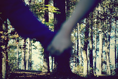 pull (katie mcgough) Tags: park trees boy fall girl outside blurry hands woods purple hold