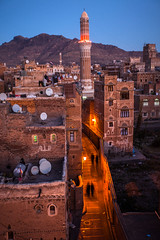 Old Sana'a at sunset, yemen (anthony pappone photography) Tags: world pictures travel people architecture night digital canon lens photography photo republic foto image picture culture best unesco arabia yemen fotografia sanaa ramadan reportage photograher sejima suk arabo yemeni phototravel yaman arabie arabiafelix arabieheureuse  arabianpeninsula        alyaman yemenpicture yemenpictures eos5dmarkii    gimejun1213