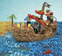 A pirate ship made out of candy