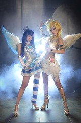 Panty & Stocking (TC.Dosan) Tags: cute girl female angel photo wings shoes gun highheels cosplay longhair weapon sword ribbon blondehair navel midriff choker realistic angelwings 2girls thighhighs hairribbon multicoloredhair elbowgloves dualwielding pantystockingwithgarterbelt pantycharacter stockingcharacter singlethighhigh