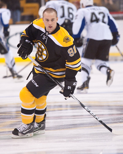 Boston Bruins forward Marc Savard during warm-ups at a NHL game on Dec  2nd 2010. (Inside Hockey/ Brian Fluharty)