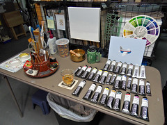 My Studio: December 5, 2010 / New Paints (steveartist) Tags: art artwork paintings workinprogress artists artinprogress artstudios artstudiosstevefrenkelartistspainterspaintingsartsuppliesacrylicpaintspaintsgoldenopenacrylics