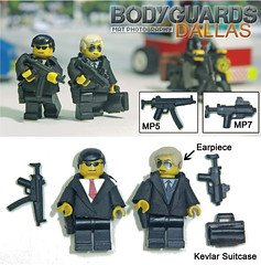Bodyguards dallas (Shobrick) Tags: street black car studio dallas artist lego crowd stock tiny unknown ba tt coats custom suitcase mp5 holster mods kevlar motorcyle tactical uas earpiece bodyguards mp7 brickarms holosight shobrick