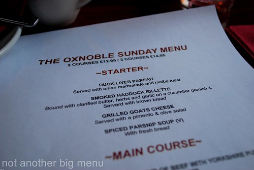 Manchester Dec '10The Oxen (Manchester) Sunday lunch menu