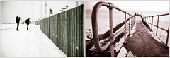 Snowy Fences Brighton (Xavier Roeseler) Tags: snow monochrome fence brighton seafront fencefriday