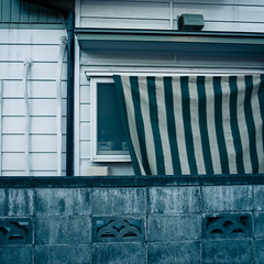 Striped Wink (jacob schere [in the 03 strategically planning]) Tags: house geometric home window japan square concrete tokyo geometry jacob pipe cement stripe shapes communication chiba shade geometrical shape lucid cinderblock piping striped narashino schere grii jacobschere lucidcommunication