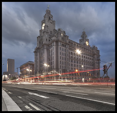 The Royal Liver Building, Liverpool ( mono version and higher contrast shot now in comment) (Ianmoran1970) Tags: sky cloud building bird night liverpool landscape pier head royal liver liverbird liverbuilding ianmoran theroyalliverbuilding ianmoran1970