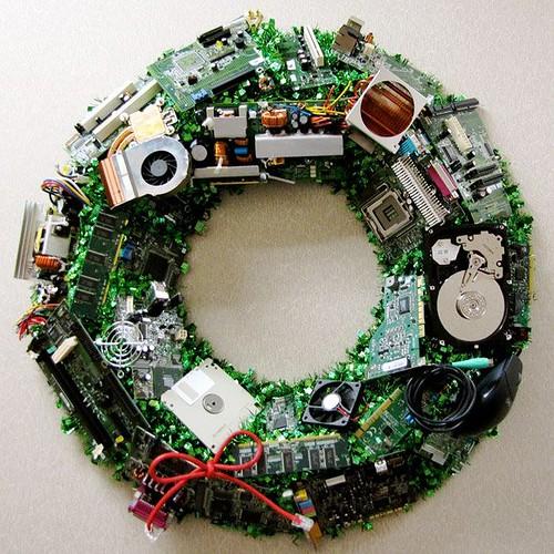 科技園區的聖誕花圈