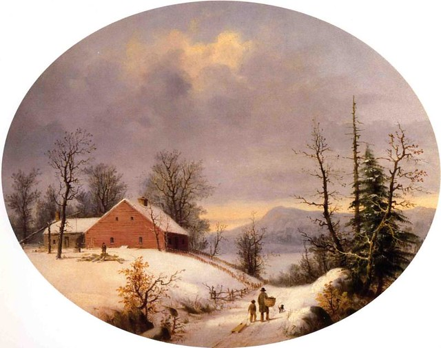 Winter Farmyard and Travelers 1855