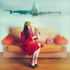 Happy Holidays! (www.juliadavilalampe.com) Tags: christmas schnee red woman snow girl plane vintage weihnachten airplane navidad photos nieve images retro sofa getty elegant conceptual happyholidays avin gettyimages autoretratos chaulafanita chaulafanitas juliadavila juliadavilalampe