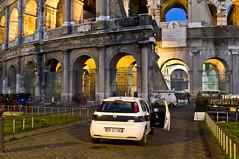 Fiat Punto Police Car (Curtis Gregory Perry) Tags: auto italy rome roma car architecture punto ancient nikon automobile arch fiat police mobil colosseum motor column automvil polizia municipale xe d300 automobil     samochd  kotse  otomobil   hi   bifrei  automobili   gluaisten