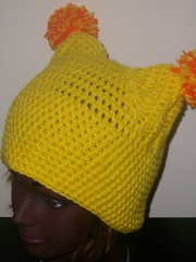 Yellow Pom-Pom Hat (lavstarlight) Tags: winter orange anime hat yellow weird geek cosplay unique funky unusual geekery pompom accessory lavenderstarlight