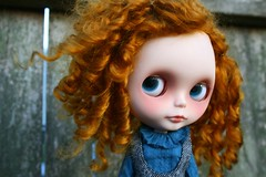 marguerite (cybermelli) Tags: red vintage hair monkey eyes doll boots sleep barbie redhead sleepy curly squishy blythe perm custom takara petite ragazza mechanique squeaky poupee rbl wanderling