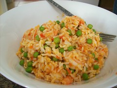 Columbian Pilaf (jazzijava) Tags: pink food green home cooking recipe lunch baking healthy december rice photos tomatoes shrimp fork bowl blogger notbyme garlic peas blogged onion johana columbian whatsmellssogood